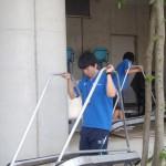 屋外テニスコート、水かきとネットを修理しました!!
